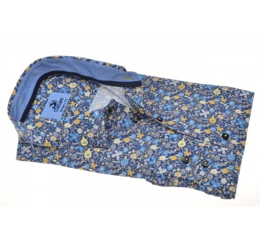 Overhemd Modern Fit Print Bloemen Blauw (214944 - 36)