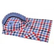 Culture Culture Overhemd Modern Fit Korte Mouw Ruit Blauw/Rood (214805 - 85)