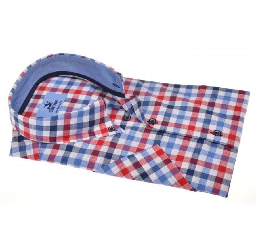 Overhemd Modern Fit Korte Mouw Ruit Blauw/Rood (214805 - 85)