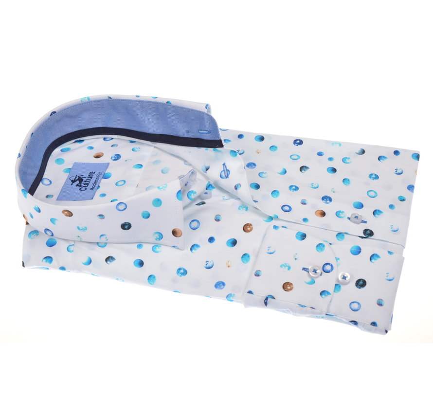Overhemd Modern Fit Blauwe Cirkels Print (214908 - 45)