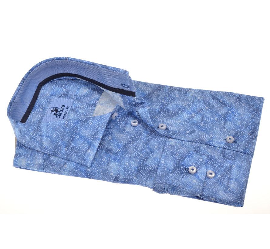 Overhemd Modern Fit Blauw Print (214941 - 35)