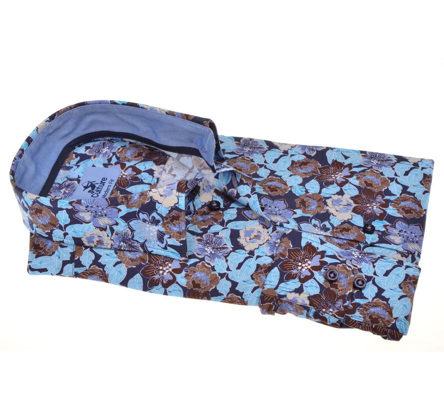 Overhemd Modern Fit Blauw/Bruin Bloemen (214899 - 74)