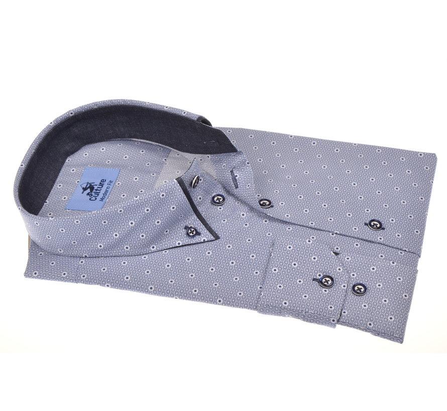 Overhemd Modern Fit Lichtblauw Print Cirkels (215009 - 38)