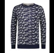 Dstrezzed Sweater Palm Print Navy (404182 - 671)