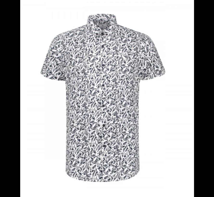 Korte Mouw Overhemd Print Dark Navy (311132 - 649)