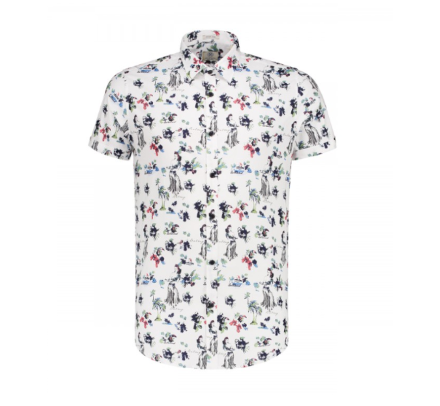 Korte Mouw Overhemd Print Hawaii Wit (311138 - 100)