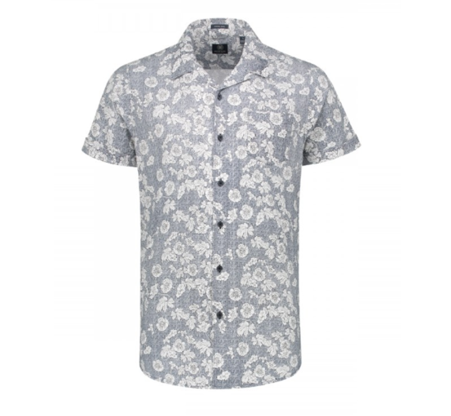 Korte Mouw Overhemd Print Navy (311134 - 669)