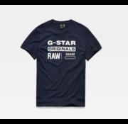 G-star T-Shirt Navy Met Witte Opdruk (D14143 - 336 - 6067)