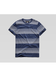 G-star T-shirt Streep Donkerblauw/Wit (D14442 - B584 - 8356)