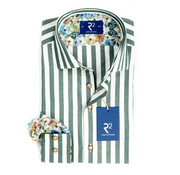 R2 Amsterdam Overhemd Streep Groen/Wit (95.WSP.60 - 074)
