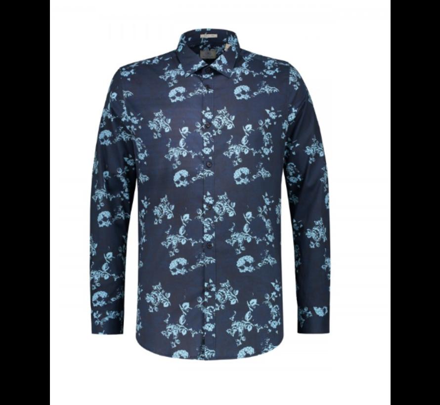Overhemd Slim Fit Print Navy (303208 - 649)