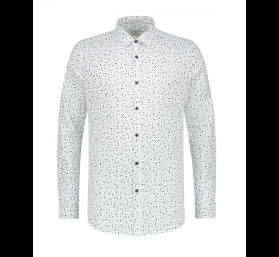 Overhemd Slim Fit Print Wit (303214 - 100)