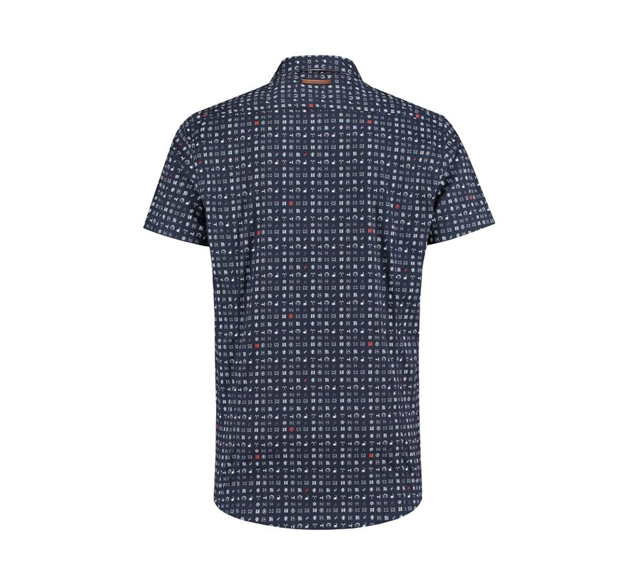 Overhemd Korte Mouw Print Navy (91.03.094)