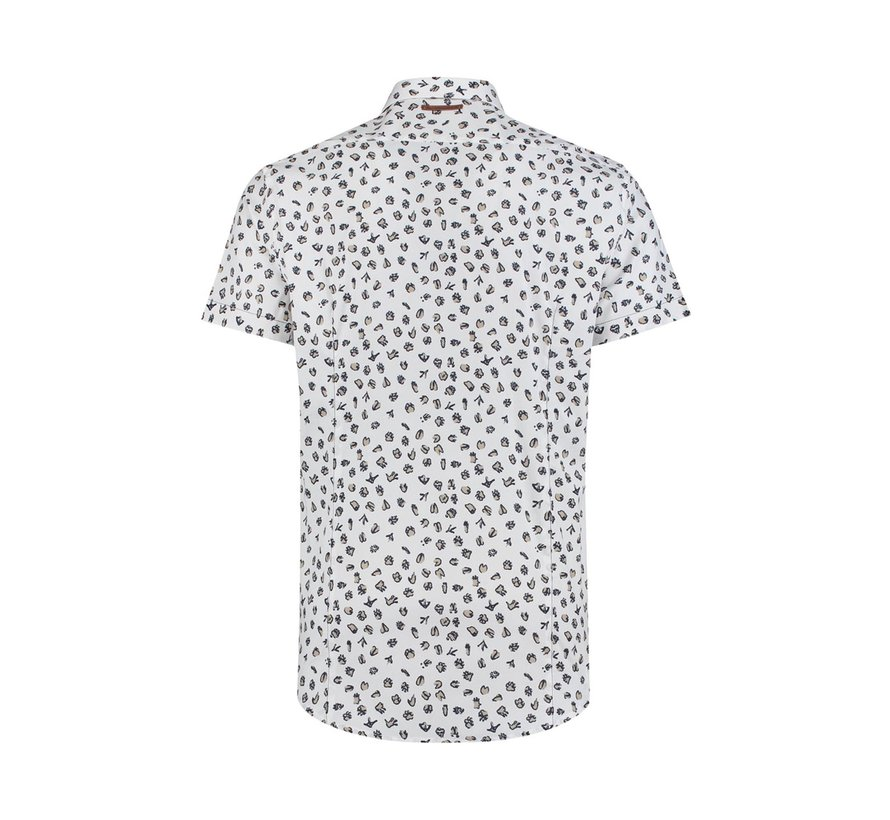 Overhemd Korte Mouw Print Wit (91.03.082)