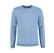 A Fish named Fred Pullover Blauw Print (91.01.500)