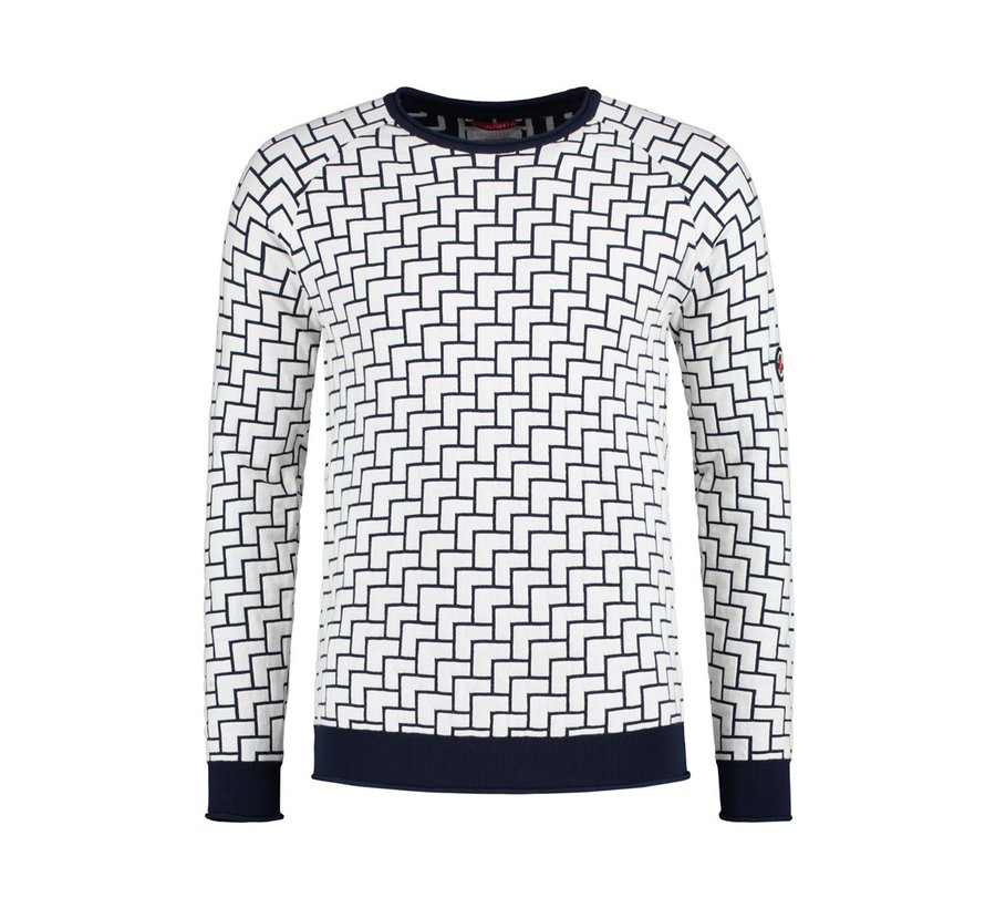 Pullover Navy/Wit Print (91.02.511)