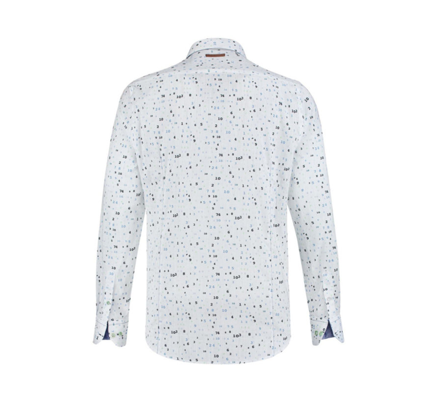 Overhemd Print Wit (91.02.021)