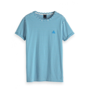 Scotch & Soda T-Shirt Wit Met Blauw Gestreept (133633 - 19)