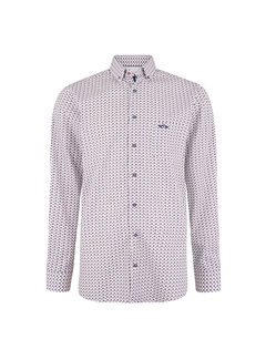 HV Society Overhemd Lange Mouw Mitchell Print Wit (0404103125 - 0026 - HV White)