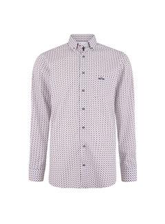 Overhemd Lange Mouw Mitchell Print Wit (0404103125 - 0026 - HV White)