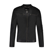 Goosecraft Leren Zipper Anitique Silver Jacket Zwart (100002010 Jacket965)