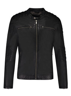 Goosecraft Leren Zipper Anitique Silver Jacket Zwart (100002010 Jacket965)