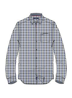 Overhemd Lange Mouw Adam Ruit Blauw (0404103123 - 5245 - Jetset Blue)