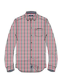 Overhemd Lange Mouw Adam Ruit Rood (0404103123 - 3107 - Scarlet Red)