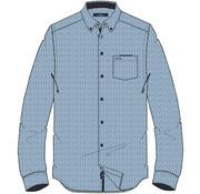 HV Society Overhemd Lange Mouw Marlon Print Navy (0404103129 - 5001 - Navy )