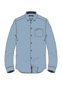 Overhemd Lange Mouw Marlon Print Navy (0404103129 - 5001 - Navy )