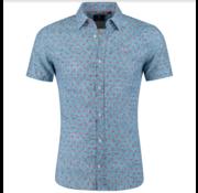 New Zealand Auckland Korte Mouw Overhemd Mangere Print Maori Blue (19DN505D - 258)