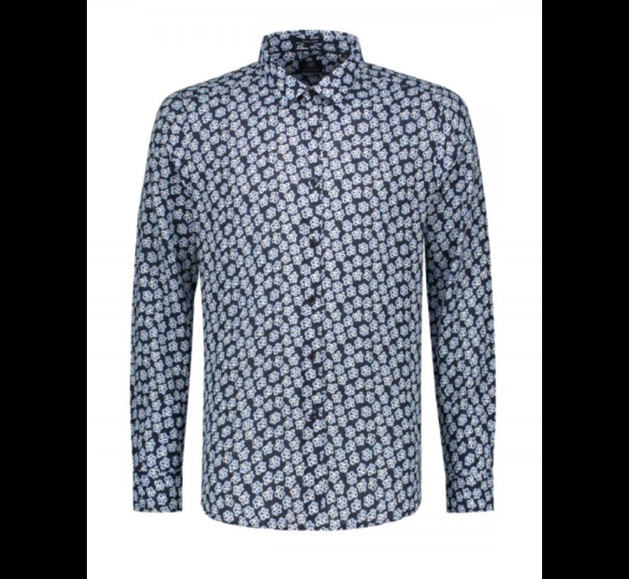Overhemd Print Bloemen Navy (303234 - 649)
