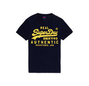 Superdry T-shirt Navy Opdruk Geel (M1000056B - ADQ)
