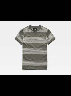 G-star T-shirt Grijs/Groen Strepen (D14442 - B584 - A846)