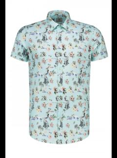 Dstrezzed Korte Mouw Overhemd Print Lagoon Green (311138 - 521)