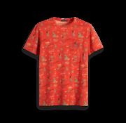 Scotch & Soda T-shirt Ronde Hals Oranje Print (149059 - 0217)