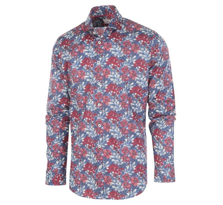 Overhemd Print Bloemen Blauw/Rood (1272.92)
