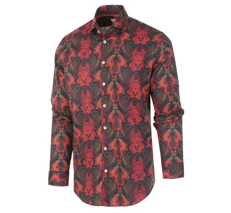 Overhemd Print Rood/Groen (1281.92)