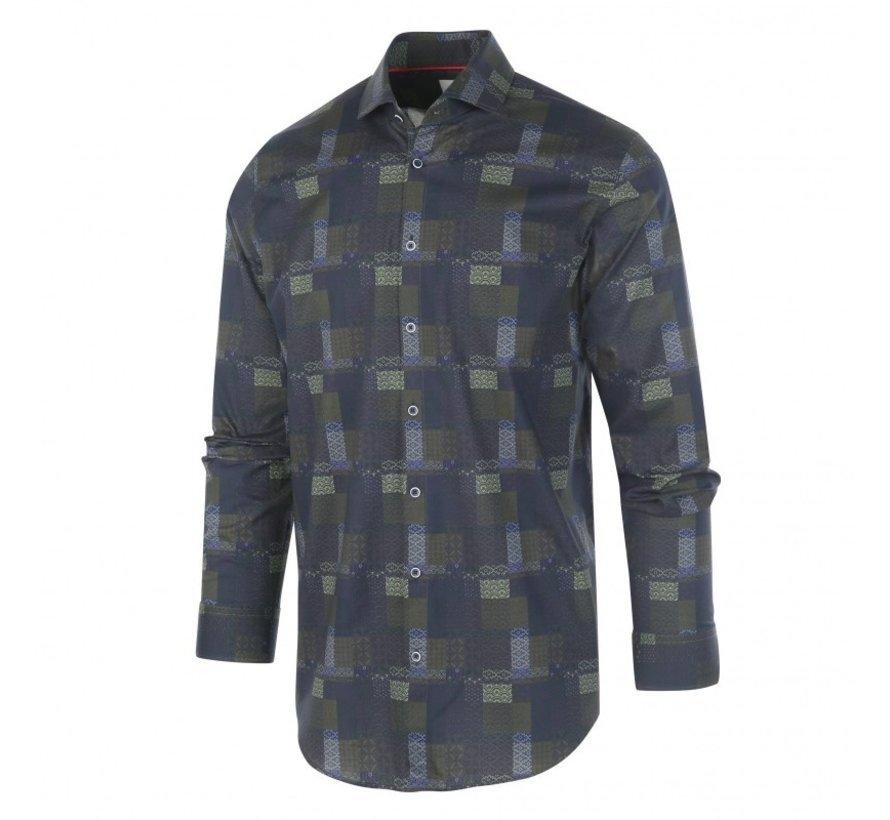 Overhemd Print Navy/Groen (1284.92)