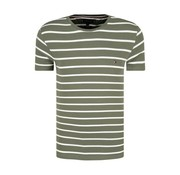 Tommy Hilfiger T-shirt Gestreep Army/Wit (MW0MW09813 - 908)
