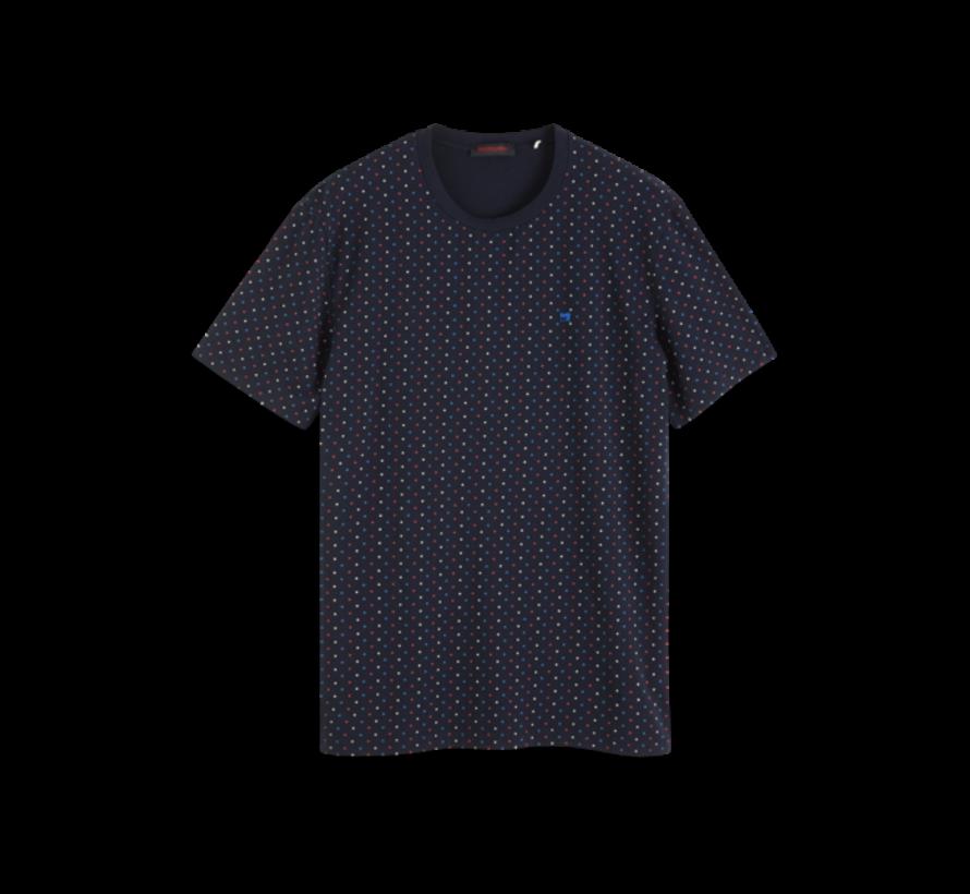 T-shirt Print Multicolor Blokjes Navy (152274 - 0219)