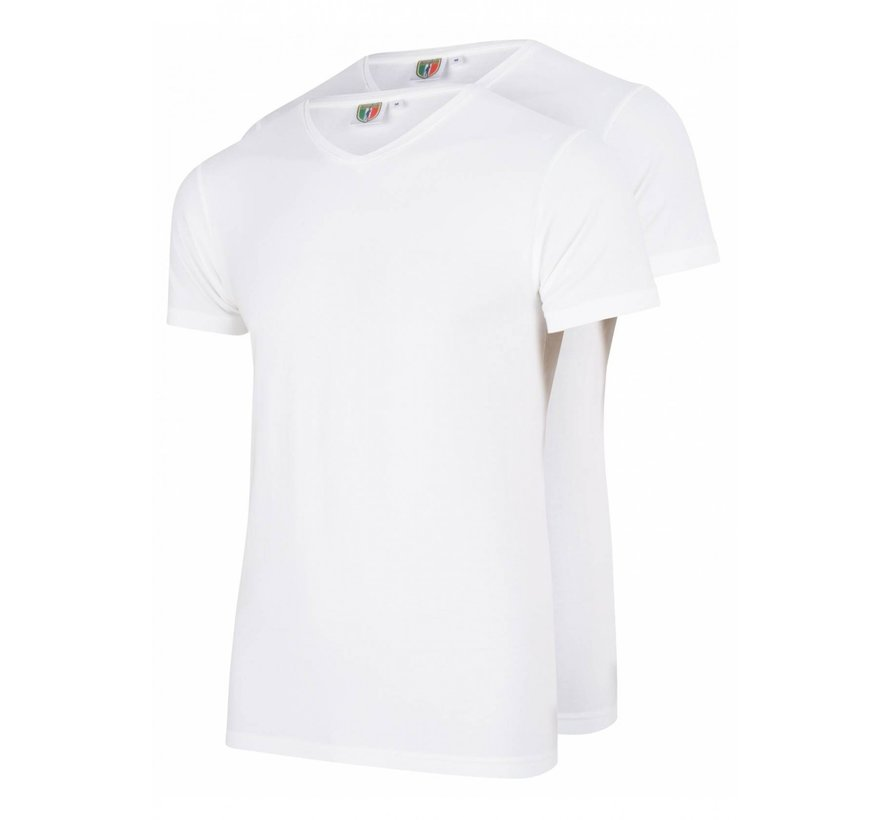 V-hals T-shirt 2Pack Wit (1790006 - 10000)