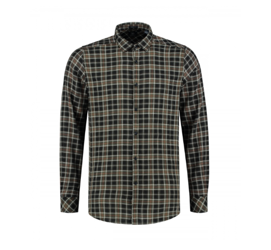 Overhemd Herringbone Check Dark Army (303248 - 524)