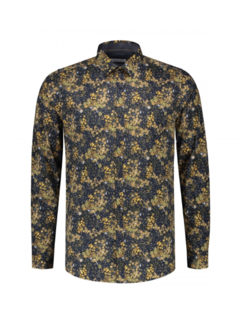 Dstrezzed Overhemd Small Flower Stretch Poplin Navy (303282 - 669)