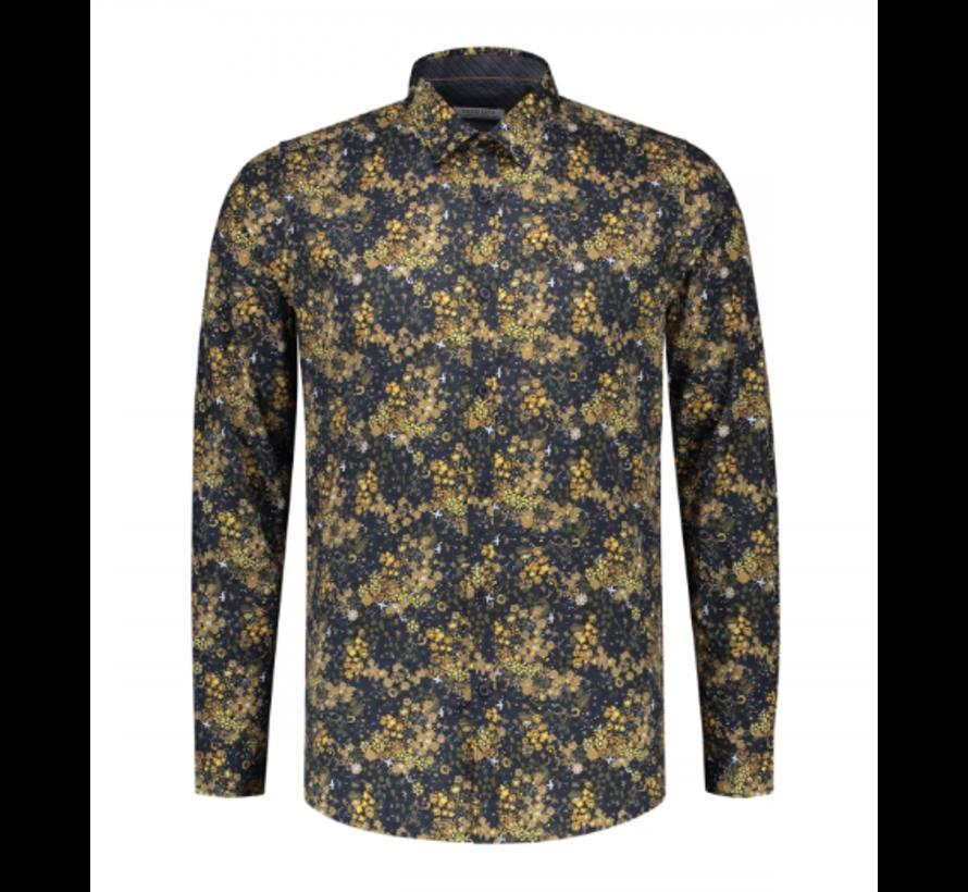 Overhemd Small Flower Stretch Poplin Navy (303282 - 669)
