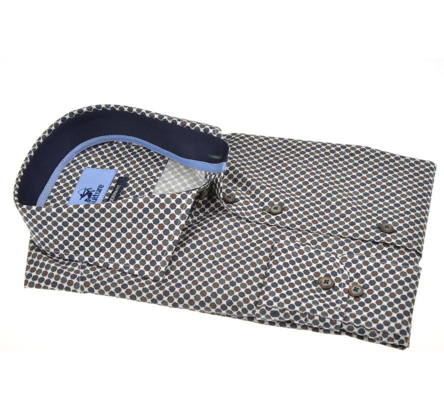 Overhemd Modern Fit Print Bruin (513937 - 56)