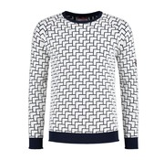 A Fish named Fred Pullover Wit Met Print Navy Blauw (92.02.517)