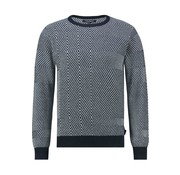 Haze&Finn Sweater Diamond Check Dark Navy (MC12-0221-Dark Navy)