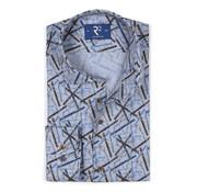 R2 Amsterdam Overhemd Print Blauw (106.WSP.066 - 014)