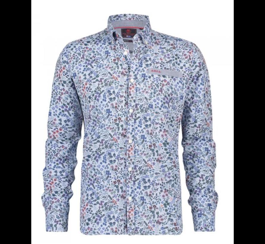Overhemd Barrowman Print Blauw (19HN581 - 371)